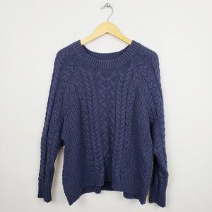 🆕️ Aerie - Blue Cable Knit Crewneck Sweater